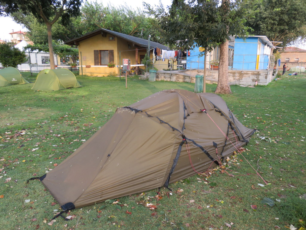 Camping San Nicolò, Venice: after a tropical storm, we awoke to find hundreds of worms that made their home on our tent after dropping from a tree that we had camped under!