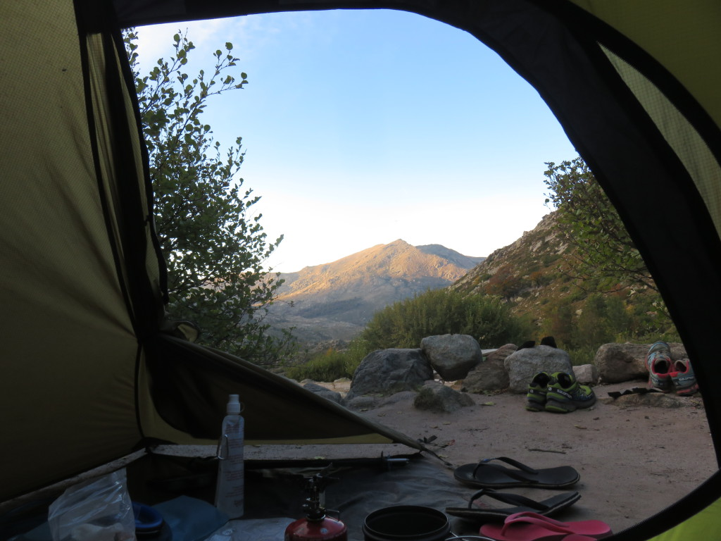 Tent with a view: the evening of Day 6 of the GR20 trail in Corsica was one of those 'in the right place at the right time' kind of evenings…